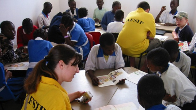 GAFSIP volunteers with children in the Gambia.