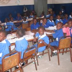 Classroom of school children in the Gambia.
